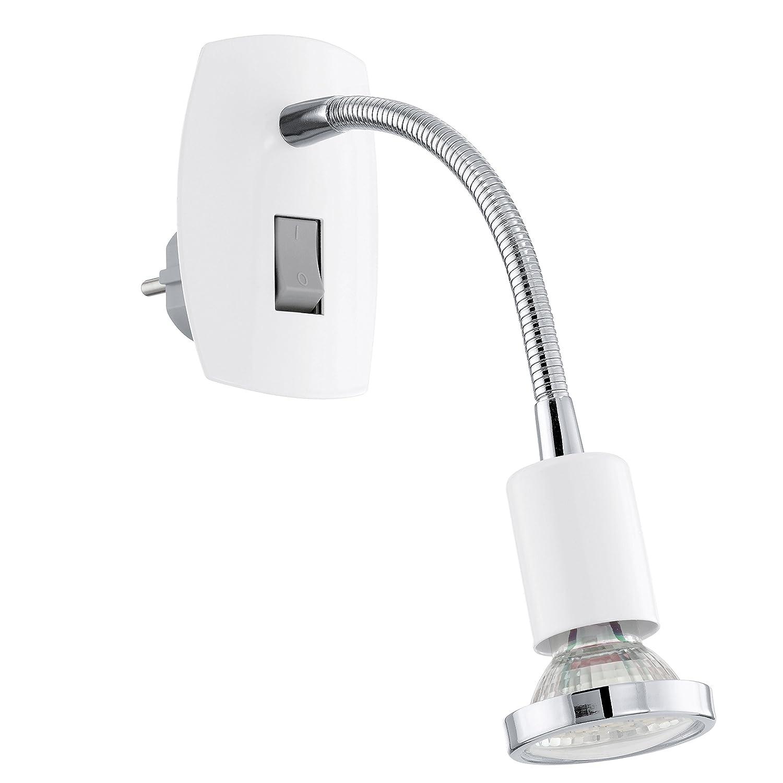 EGLO, Lampada LED con spina integrata e interruttore lampadina inclusa, classe di efficienza energetica A+, 200 lumen, 3000 kelvin, attacco GU10 92934 E