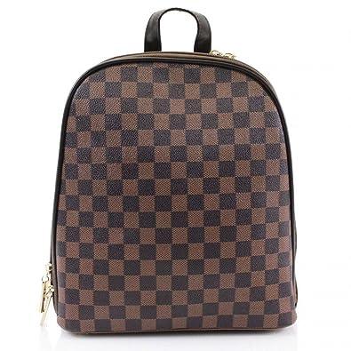 7e2f816f14 Ladies Women Check print Backpack Rucksack Shoulder College Uni Bag (Brown)