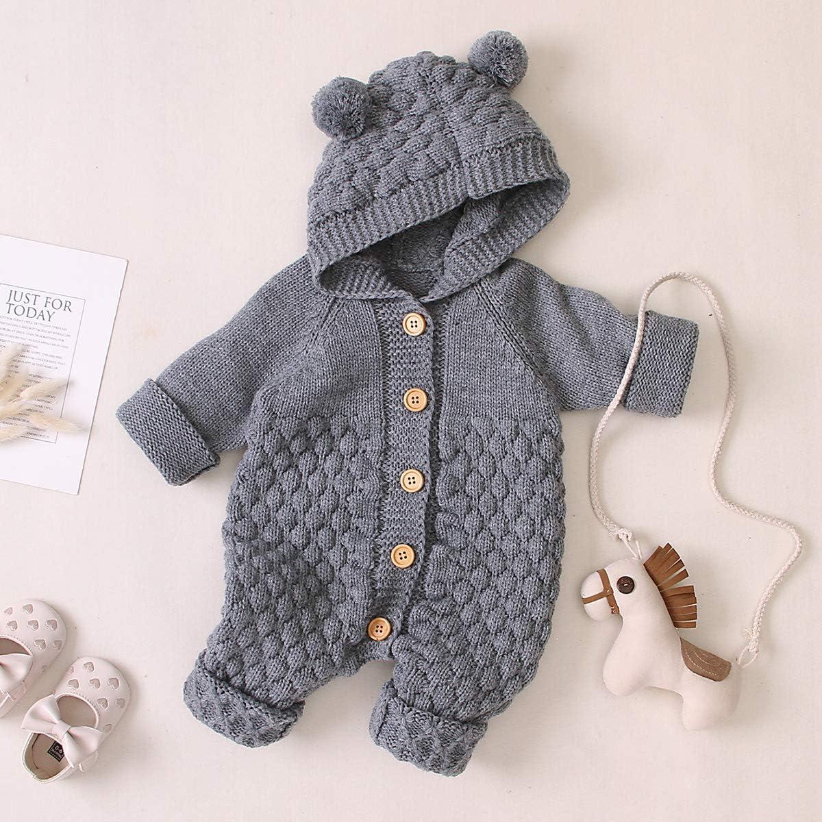 gestrickt warmer Pullover Einteiler mit Kapuze NCONCO Baby-Overall f/ür Neugeborene