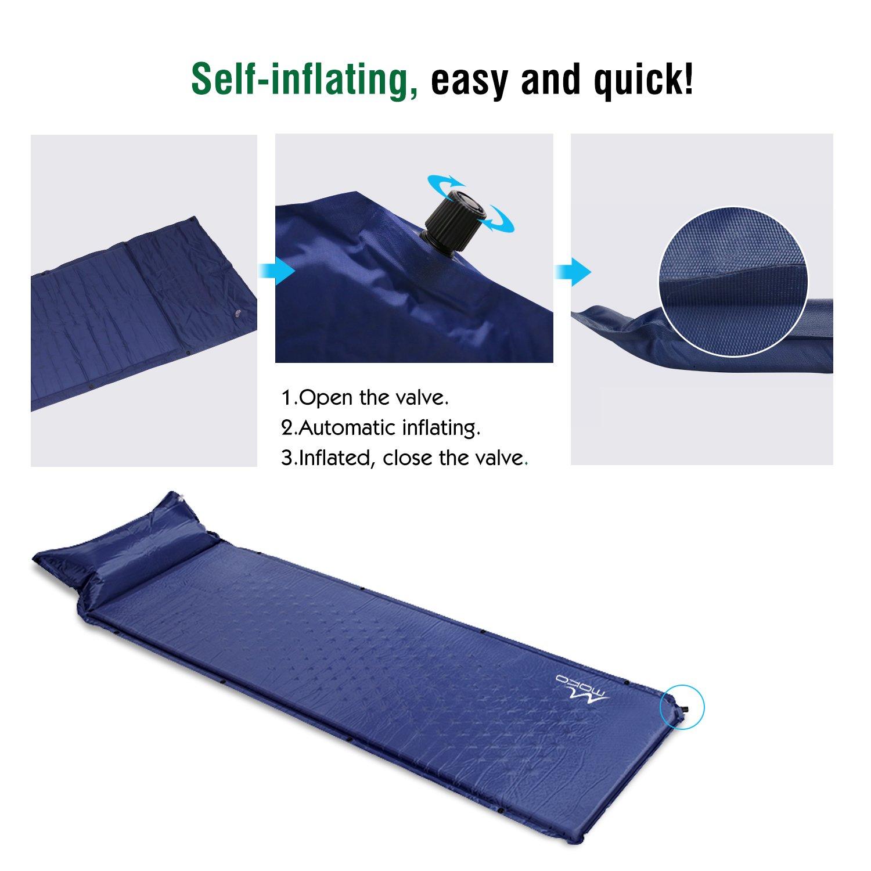 MoKo Colchón de Aire/Dormir - Ultra Portátil Impermeable Sleeping Pad (Almohada Inflable & A Prueba de Humedad) - Índigo: Amazon.es: Deportes y aire libre