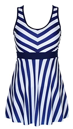 8bb14bc636705 DANIFY Women s One Piece Swimdress Sailor Striped Bathing Suit Plus Size  Swimwear at Amazon Women s Clothing store