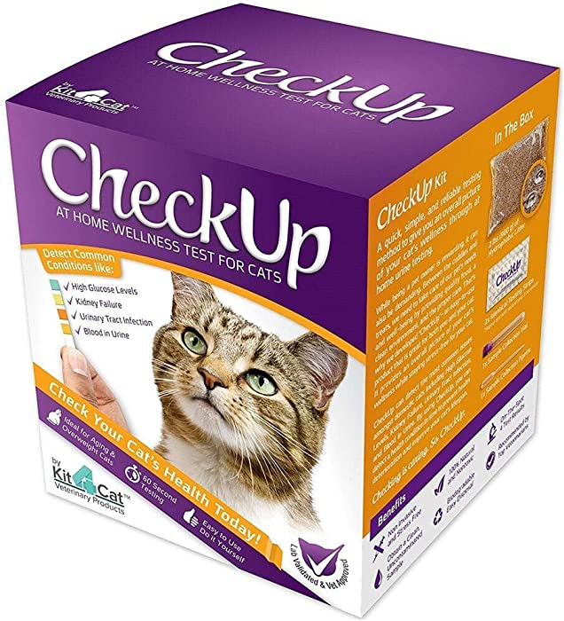 KIT4CAT CheckUp Kit at Home Wellness Test for Cats, Hydrophobic Litter for Urine Collection & Test Strips for Detection of Diabetes, Kidney Conditions, UTI, Blood in Urine