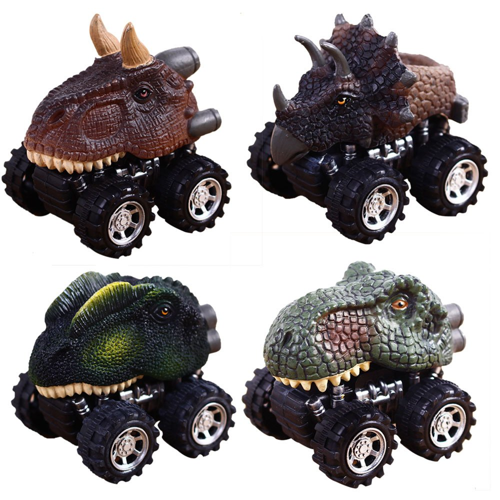 Pull Back Dinosaur Cars Pawaca 4-Pack Dino Cars Toys with Big Tire Wheel for 3-14 Year Old Boys Girls Creative Gifts for Kids