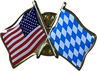product image for Gettysburg Flag Works Bavaria & U.S. Crossed Flags Double Waving Friendship Lapel Pin - Proudly Made in The USA