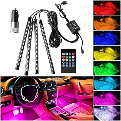 ONESING 4 Pcs Interior Car Lights Car LED Strip Lights RGB 8 Colors LED Car Lights Car Music LED Interior Lights Under Dash Lighting Kit with Sound Active Function & Remote Control DC 12V: Automotive