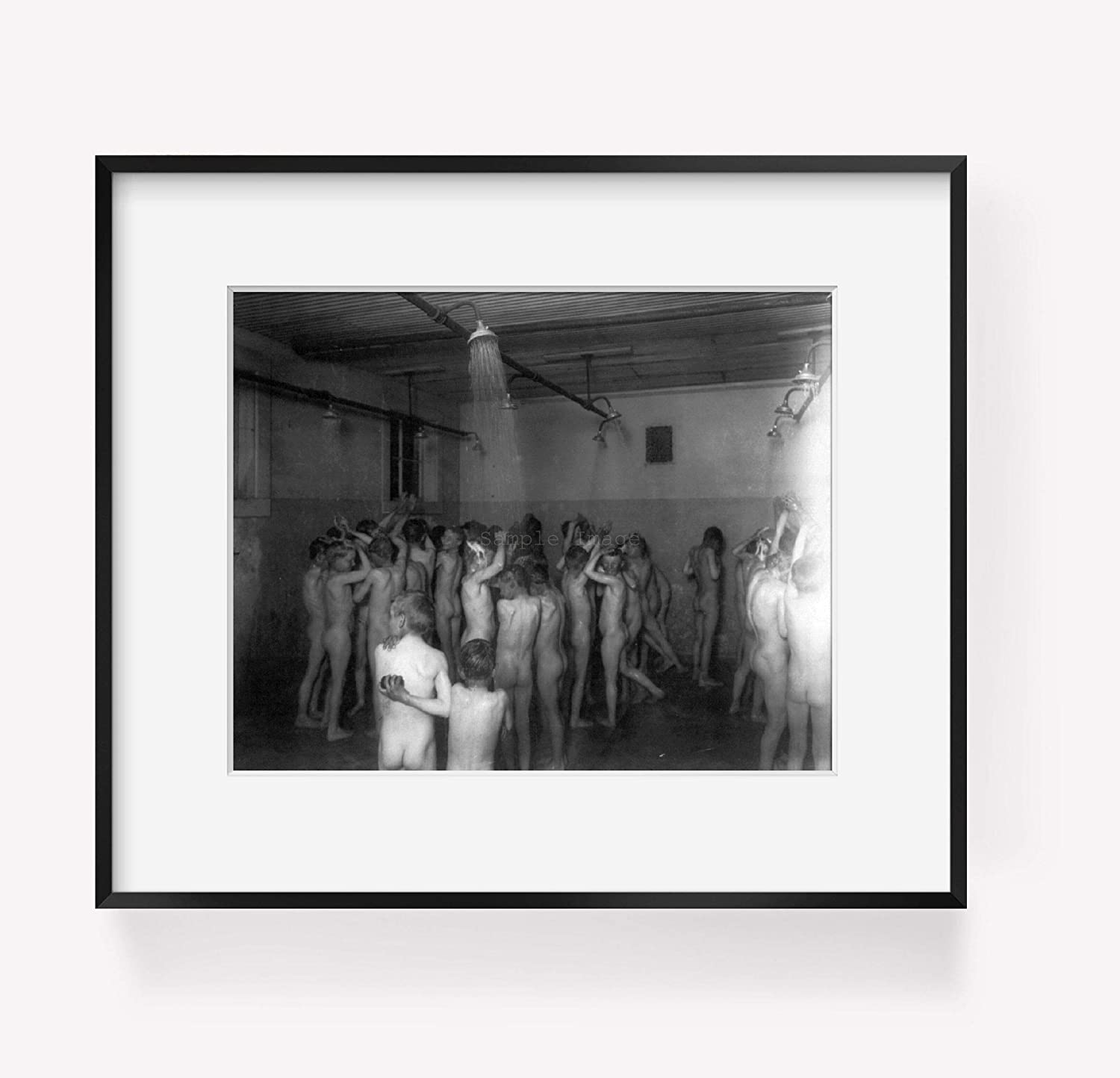 Colo 1910-192/_: Large Group of Boys Taking Shower in Reform School ca INFINITE PHOTOGRAPHS Photograph of Denver