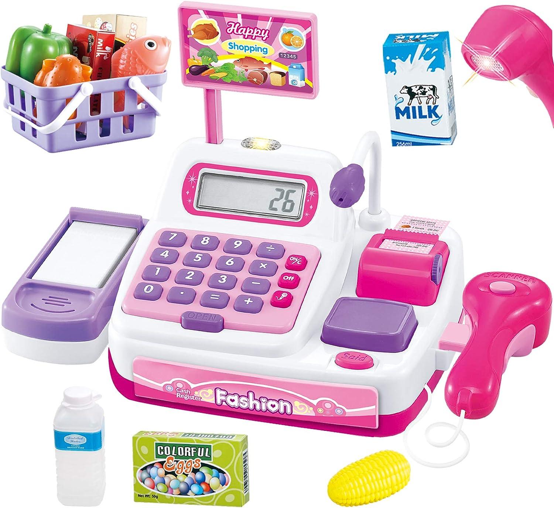 Buyger 34 Piezas Caja Registradora Juguetes Supermercado Maquina con Comida Electrónica Escáner Calculadora Micrófono Juguetes Regalo para Niña 3 4 5 Años (Rosa)