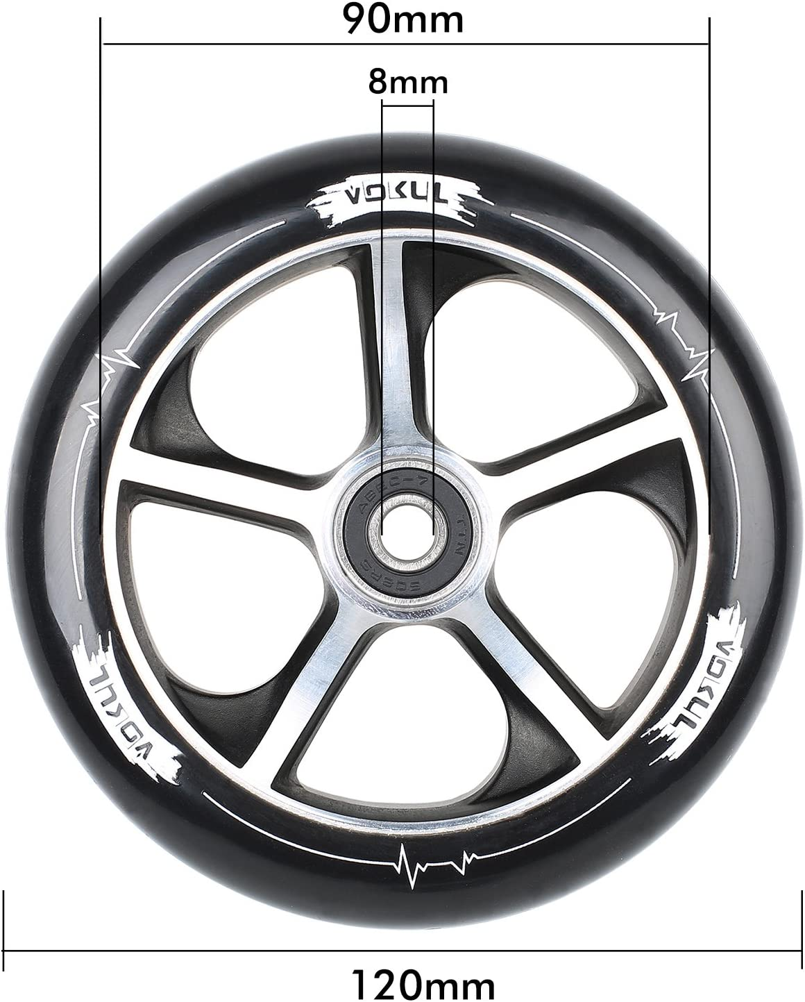 VOKUL 2pcs 120mm Pro Scooter Wheels with 3D Aluminum Core X1 T1 and All Pro Scooter with 120mm Wheels