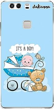 dakanna Funda para [Huawei P9 Plus] de Silicona Flexible, Dibujo Diseño [Carro de bebé con Osito y Frase: es un niño], Color [Borde Transparente] Carcasa Case Cover de Gel TPU para Smartphone: