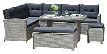 BackYard Furniture Luxury 10 Seater Casual Dining Rattan Garden Set With  Cushions
