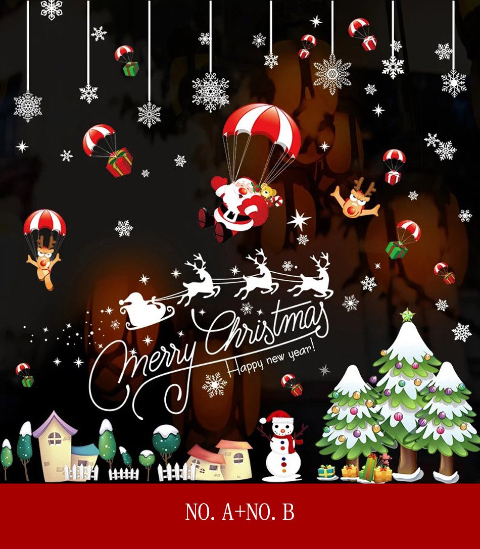 Merry Christmas Wall Stickers Glass Door Stickers with Christmas Tree & Santa Claus & Snowflake Pattern Home Decoration Closet Sticker (NO.F)
