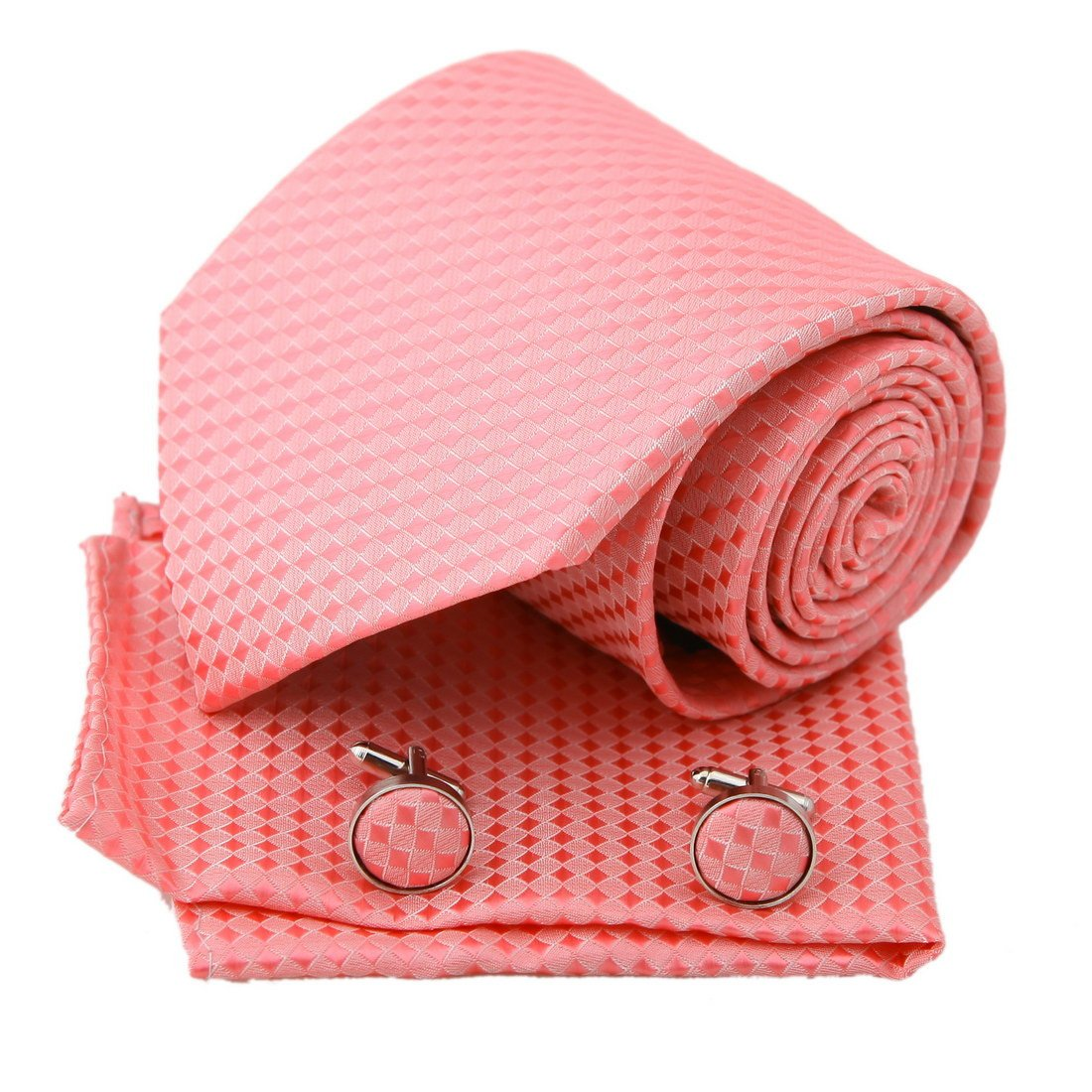 Epoint PH1131 rosa a cuadros Corbata Seda Hanky ??Gemelos Present ...
