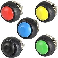 5pcs Negro/Rojo/Verde/Amarillo/Azul 12mm impermeable lockless momentáneo Push Button