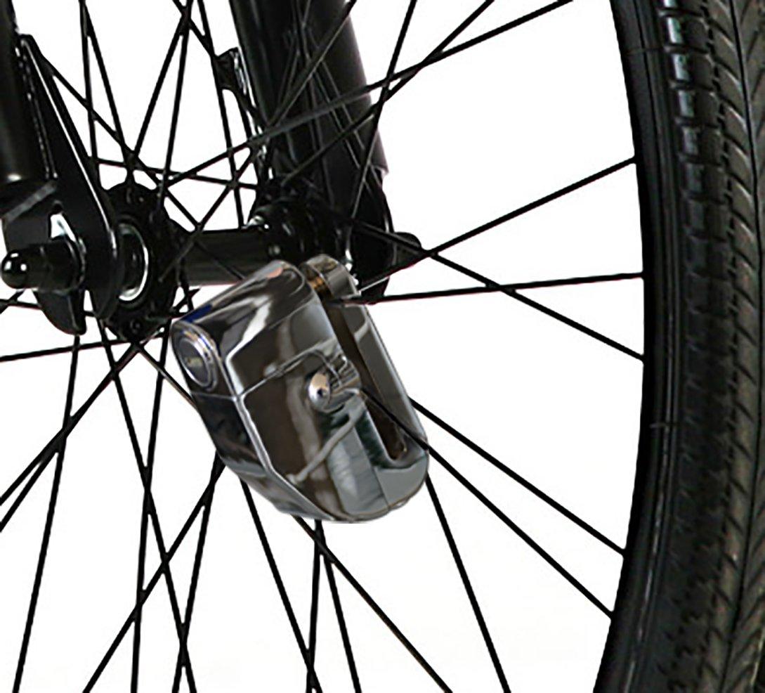 Argento Blocca Disco Lucchetto Moto Antifurto con Allarme Sonoro AGPTEK LK303