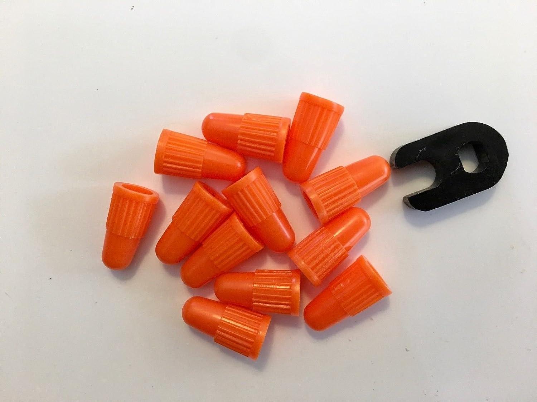 12 Presta Valve Caps。。オレンジ+ 1 Prestaバルブコア除去ツール。。。MTB。。ロードバイク B0784SW4GB