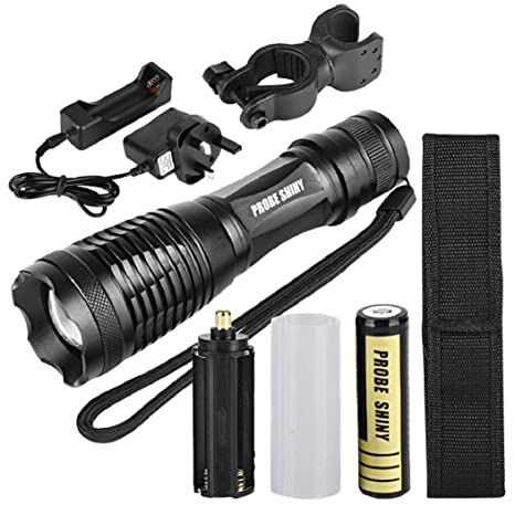 Charger+UK adapter Zoomable 100000 LM High Power T6 LED Flashlight Torch 18650