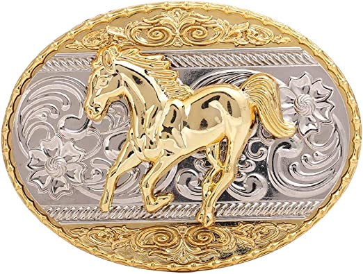 NEW TWO HORSE COWBOY RODEO BLACK WESTERN BELT BUCKLE