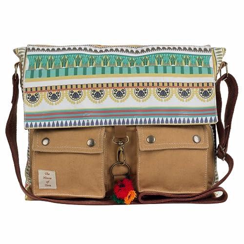 005af78728c The House of tara Women s Printed Canvas Messenger Bag(Khaki ...