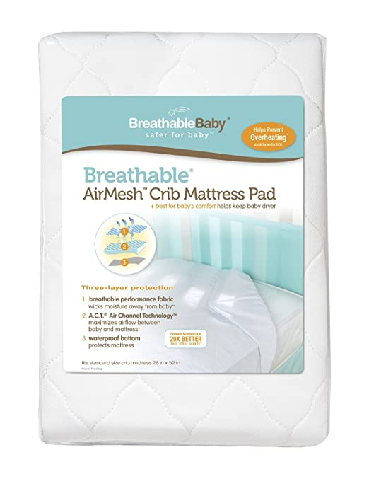 BreathableBaby | Airmesh Crib Mattress Pad Cover | Designed to Move Moisture Away From Baby and Off of Mattress | Keeps Baby Cool and Comfortable | Fits Standard Size Crib Mattress | Easy Care