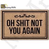 "MsMr Funny Doormat Entrance Floor Mat Oh Shit Not You Again Creative Designed Door Mat Indoor Outdoor Decorative Doormat Non-Woven Fabric Top 18""X30"""