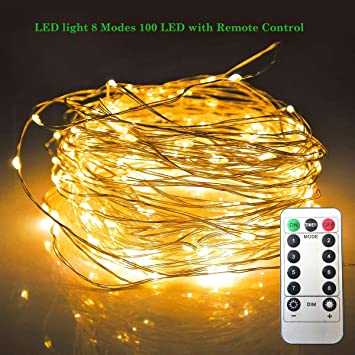 LED Light 8 Modes 100 LED with Remote Control Battery Operated Waterproof Christmas  Lights Dimmable Fairy - Amazon.com : LED Light 8 Modes 100 LED With Remote Control Battery