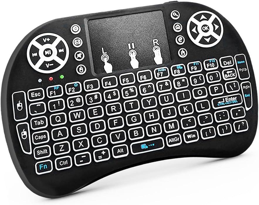 RocketBus - Mando a Distancia inalámbrico con Teclado Mini y ratón táctil para Raspberry LG Smart TV Android TV Box HPTC DELL Lenovo IBM Acer HP Ordenador portátil PC Windows 7 8