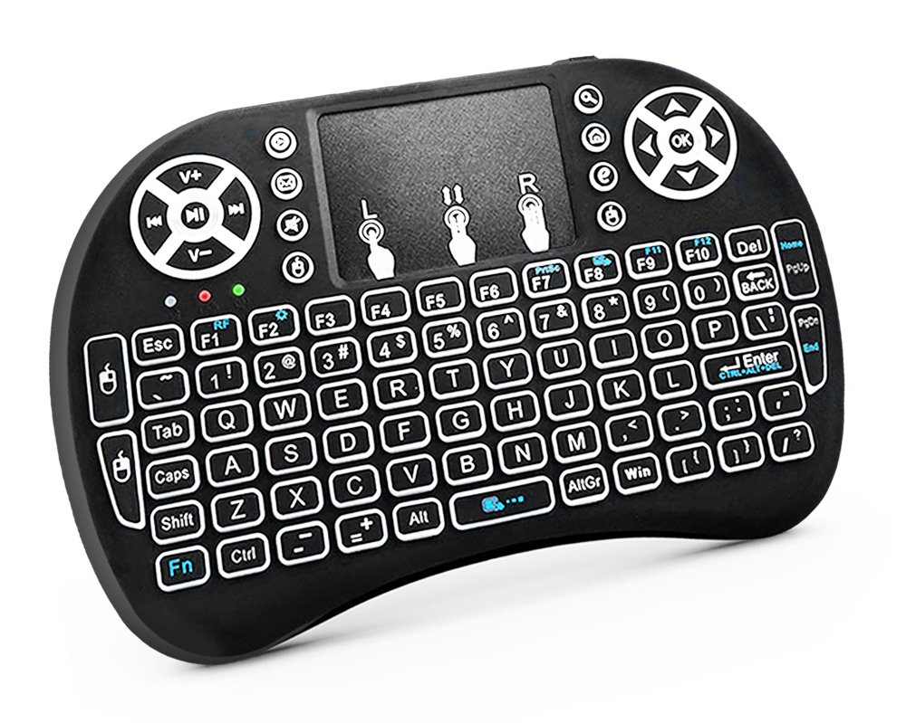 RocketBus Wireless Mini Keyboard Remote Control with Touchpad Mouse Backlit LED Light for MX MXG Matricom G q2 q3 Streaming Box Raspberry Android TV Box HPTC DELL Lenovo IBM Acer HP Laptop Computer PC