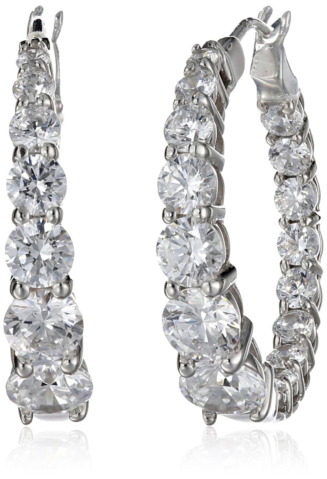 Platinum Plated Sterling Silver Hoop Earrings set with Graduated Swarovski Zirconia (3.76 cttw), 1'' Diameter