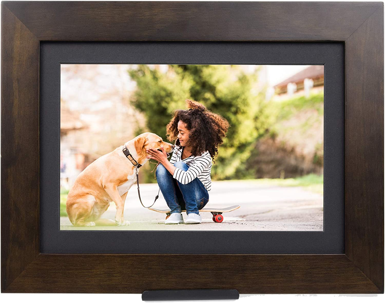"Brookstone PhotoShare Smart Digital Picture Frame, WiFi, HD, Family Photo Album Slideshow, Tabletop End Table, Home Décor, 10"", Espresso"