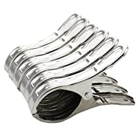 8 Pack Stainless Steel Beach Towel Clips for Beach Chairs Or Pool Lounges - Keep Your Towels,Clothes,Quilt,Blanket from Blowing Away Or Sliding Down