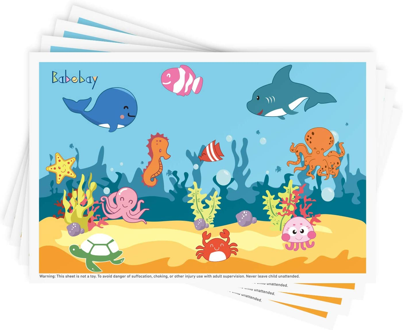 "Disposable Stick-on Placemats 40 Pack for Baby & Kids Table Topper Disposable, Toddler Placemats in Reusable Pouch 12"" x 18"", Ocean Life Sticky Place Mats, BPA Free Plastic Keep Dirt Away"