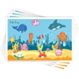 "Disposable Stick-on Placemats 40 Pack for Baby & Kids Table Topper Disposable, Toddler Placemats in Reusable Pouch 12"" x 18"""