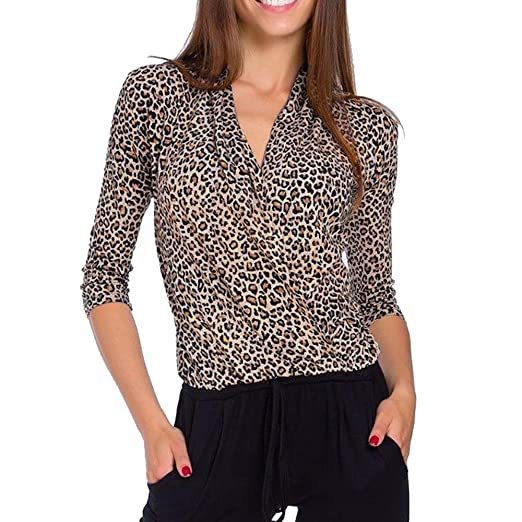 Ameily Overlap Leopard Print Top Casual Tee Women V-Neck Three Quarter 3/4