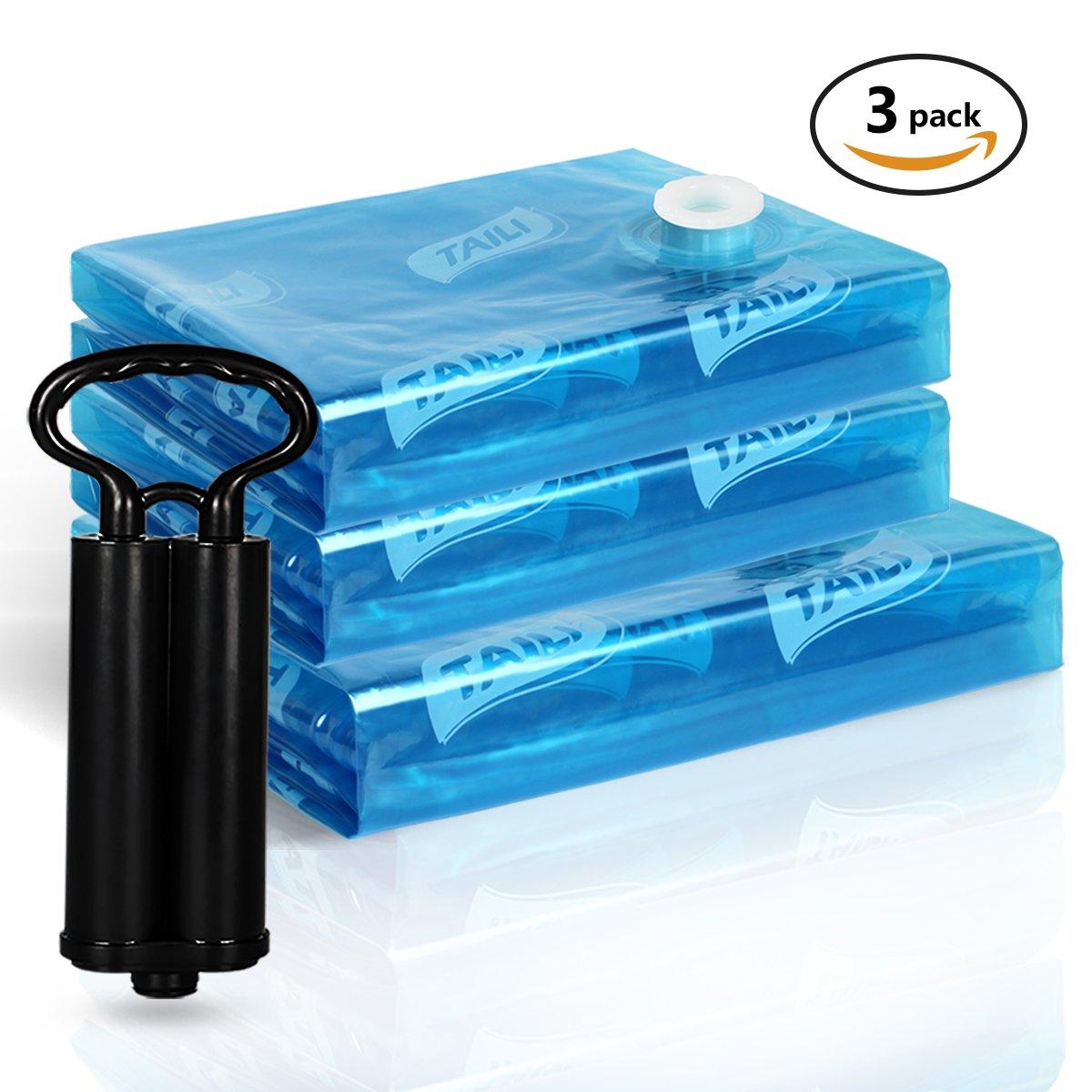 TAILI Bolsas de ahorro de espacio de almacenamiento Jumbo Premium, paquete de 11, (1 Super Jumbo, 2 Jumbo, 2 grandes, 2 medio), con 4 Gratis Bolsas de mano enrollable para equipaje, sin vacío o bomba necesaria, Azul