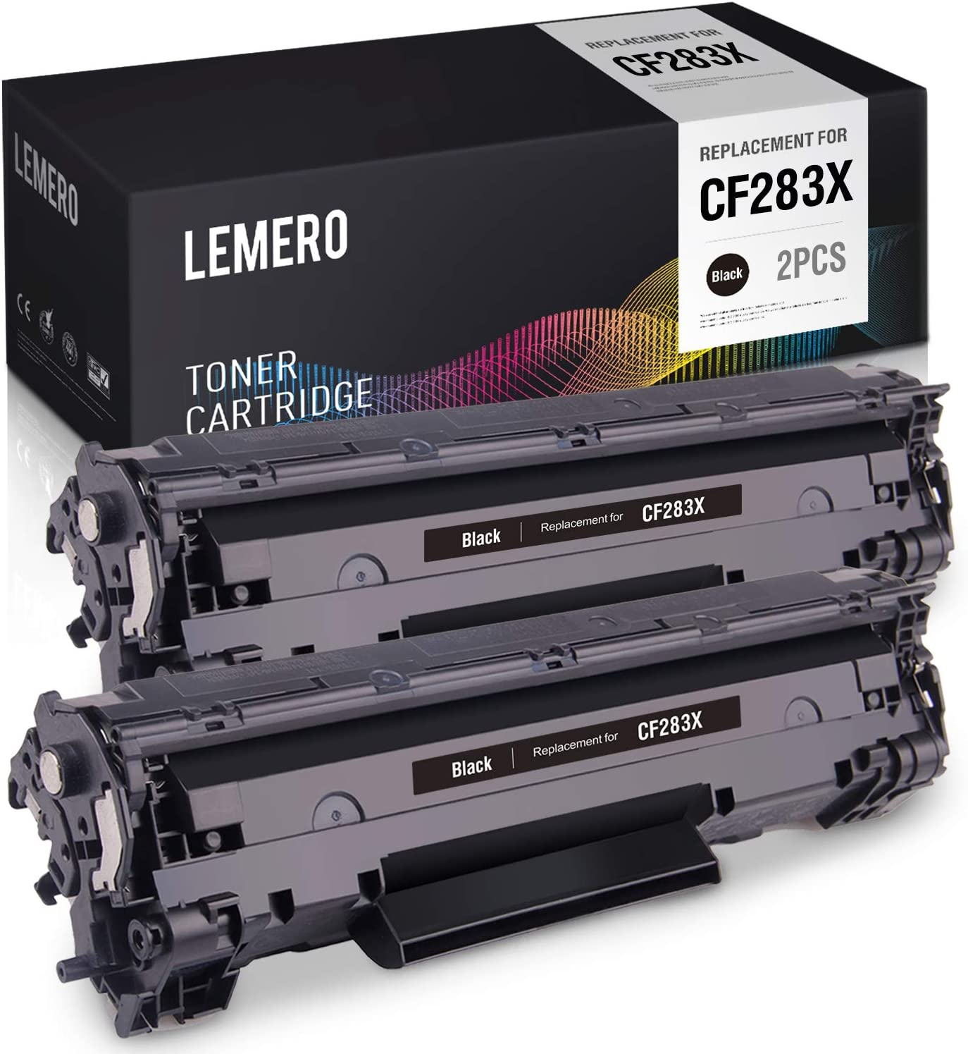 LEMERO Compatible Toner Cartridge Replacement for HP 83A CF283A 83X CF283X High Yield - for HP Laserjet Pro M201dw MFP M225dw MFP M225dn MFP M225nw (Black, 2 Pack)