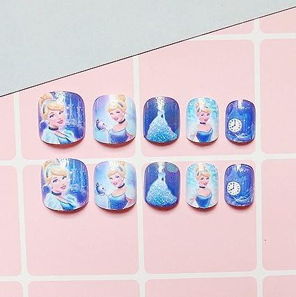 aukmla 24 pcs niñas uñas postizas Full Cover princesa puntas de uñas postizas con cinta adhesiva