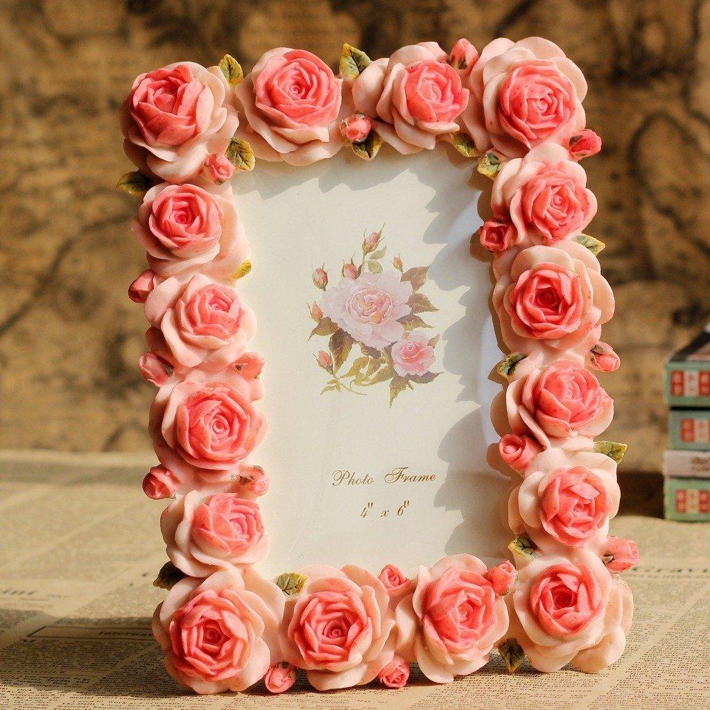 Giftgarden Bilderrahmen 10 x 15 cm Rot mit blühenden Rosen ...