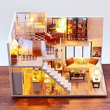 Amazon.com: Muñecas de madera casa juguete DIY casa de ...