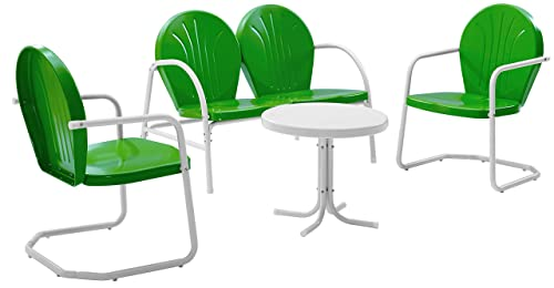Crosley Furniture Griffith 4-Piece Metal Outdoor Conversation Set with Table, Loveseat, and 2 Chairs – Grasshopper Green
