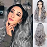 K'ryssma Ombre Grey Lace Front Wig with Black Roots L Part Long Wavy Synthetic Wigs for Women Middle Part Silver Gray…