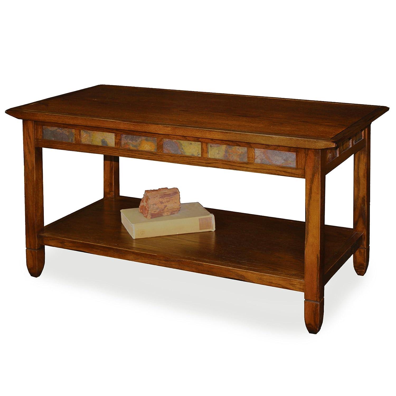Amazon Rustic Slate Rectangular Coffee Table Rustic Oak