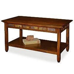 Rustic Slate Rectangular Coffee Table - Rustic Oak Finish