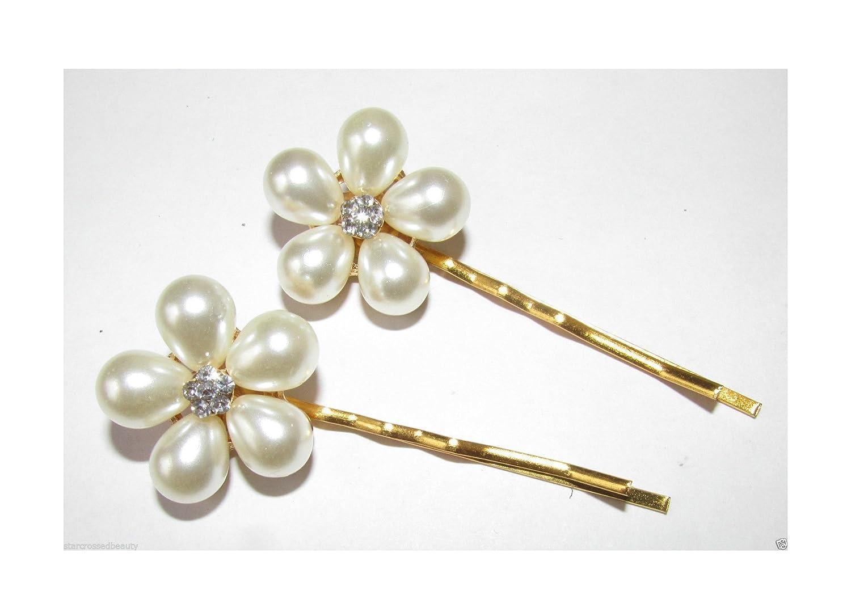2x Gold Pearl Daisy Flower Hair Clips Ivory Bridal Bobby Pins