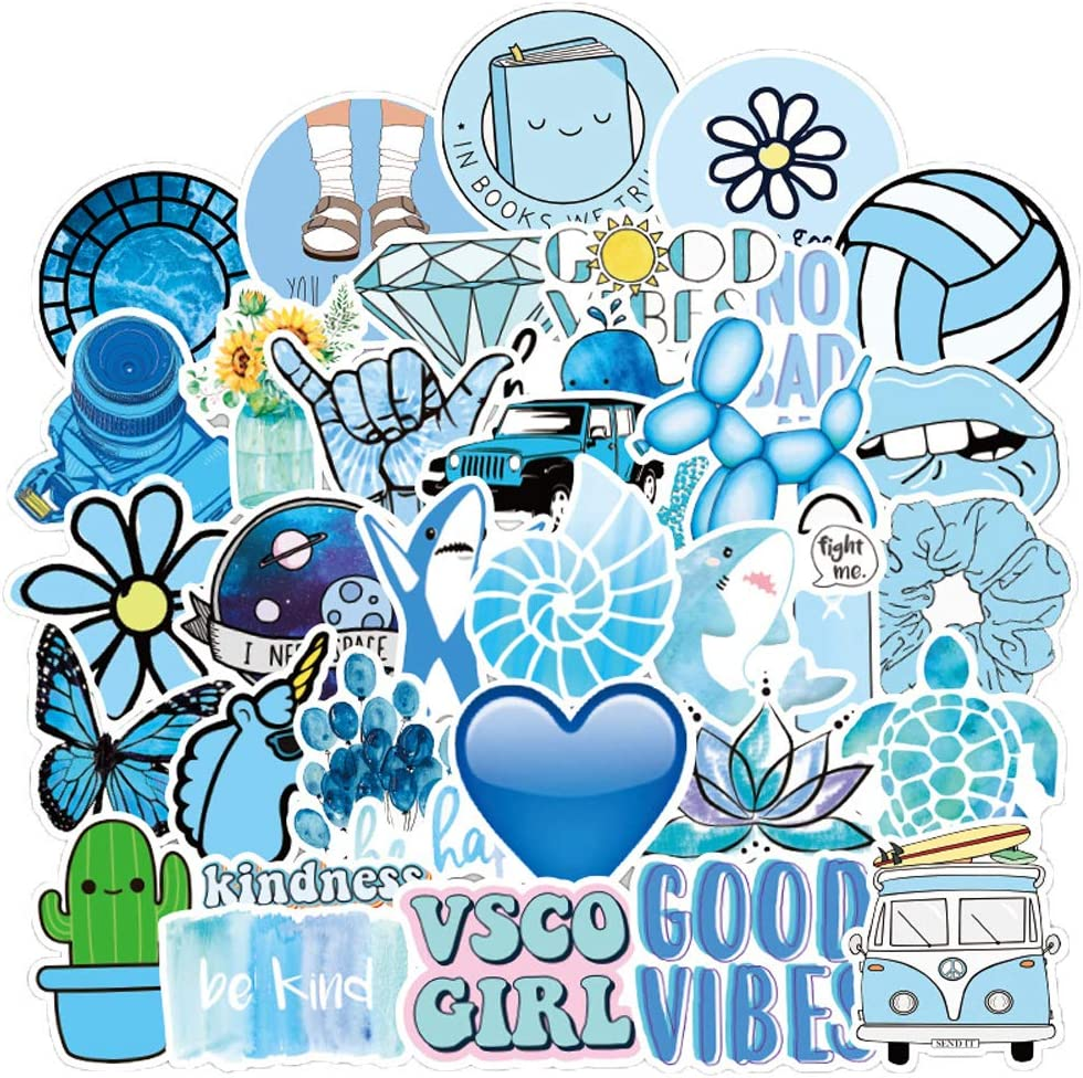 Cute Vsco Aesthetic Stickers [50PCS]- Vinyl Aesthetic Cute Waterproof Stickers for Laptops Hydro Flasks Water Bottle Hydroflask Waterbottles, Suitable for Kids, Girls, Teens, Women