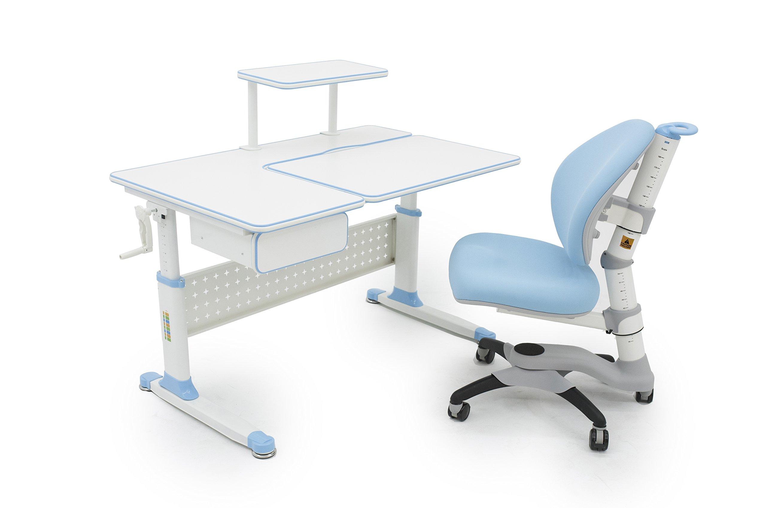 ApexDesk Little Soleil DX 43'' Children's Height Adjustable Study Desk w/ Integrated Shelf & Drawer (Desk+Chair Bundle in Blue) by ApexDesk