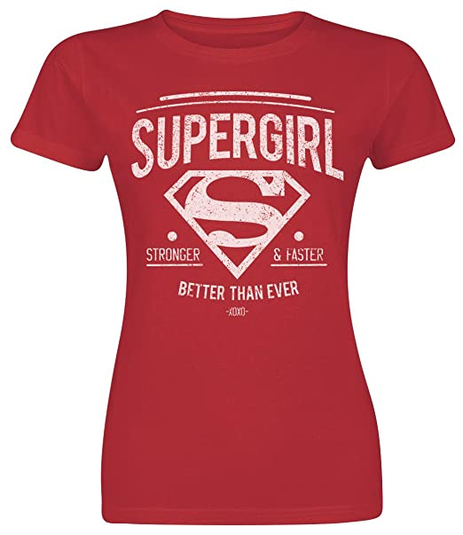 Supergirl Stronger & Faster Camiseta Mujer Rojo: Amazon.es: Ropa y accesorios