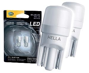 HELLA 921LED 6.5K 6,5000 Kelvin Cool White LED-1W LED Performance Bulbs Set, 12V, 1W 2 Pack