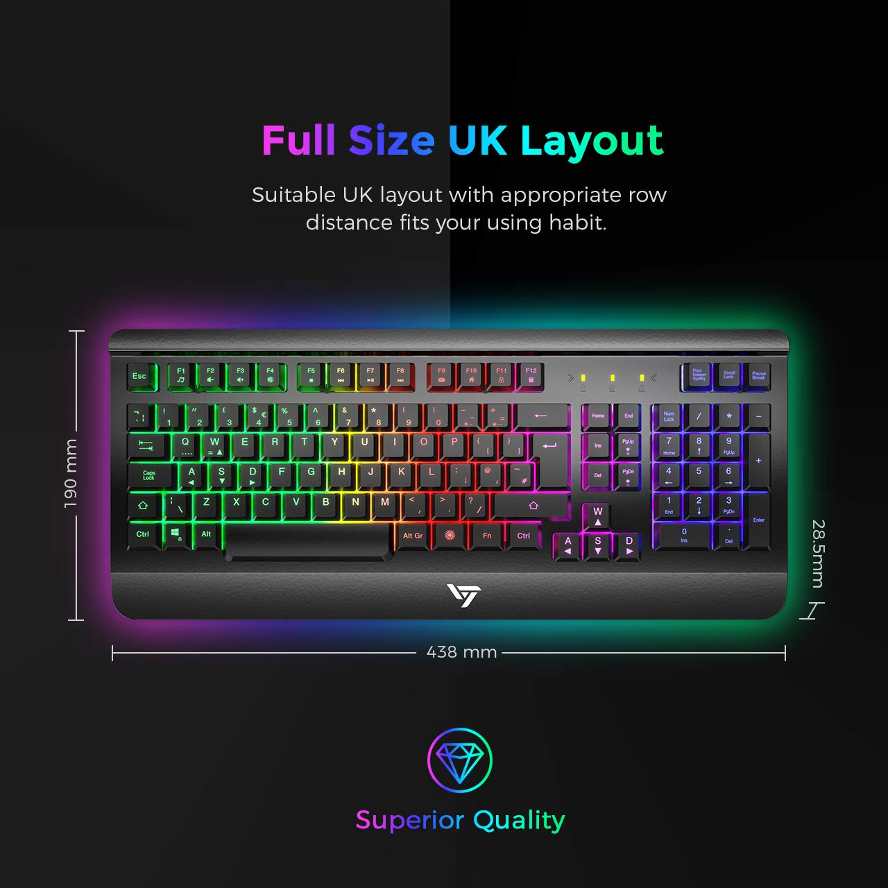 Gaming Keyboard UK, VicTsing Ultra-Slim All-Metal Frame USB Wired Keyboard  with Comfortable Wrist Rest, Rainbow LED, 12 Multimedia Shortcut Keys,