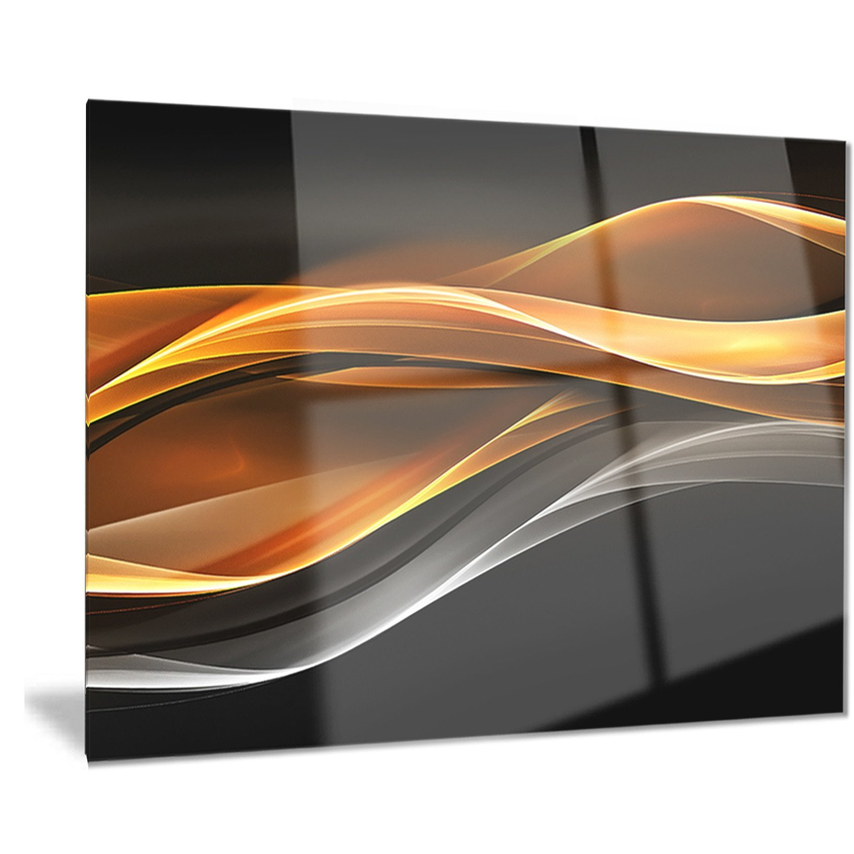 Designart Gold Silver Inward Lines-Abstract Digital Art Metal Wall Art-MT8233-40x30 by Design Art