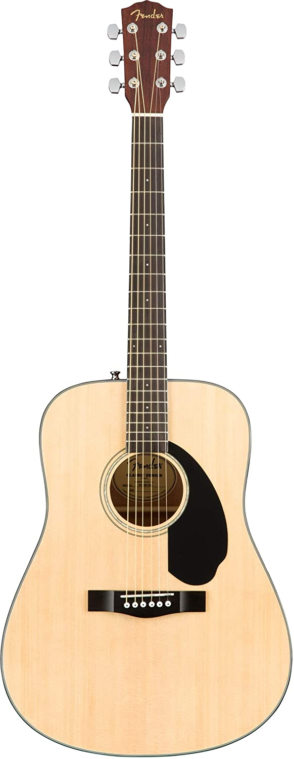 Fender CD-60S Solid Top Dreadnought Acoustic Guitar - Natural Bundle with Hard Case, Tuner, Strap, Strings, Picks, Austin Bazaar Instructional DVD, ...